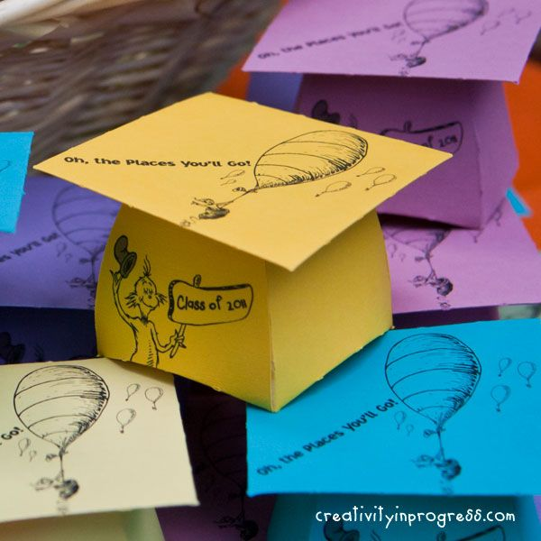 Oh, the Places You'll Go! Graduation Cap Box made by Sunghee at Creativity in Progress (using a template at Little Potato House)  (http://www.creativityinprogress.com/blog/2011/05/oh-the-places-youll-go/)   (http://www.littlepotatohouse.com/templates/boxes/graduation-cap-box/): Graduation Cap, Grad Cap, Head Of Garlic, Diy Crafts, Graduation Ideas, Naps Time, Graduation Parties, Dr. Suess, Boxes Templates