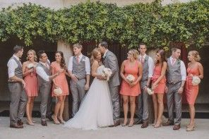 coral and grey wedding,Coral bridesmaids and grey groomsmen | Coral Santa Fe Springs Wedding | Photography : Anna Delores Photography