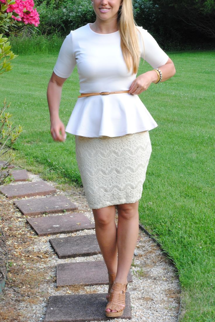 lace pencil skirt with peplum top - classic silhouette