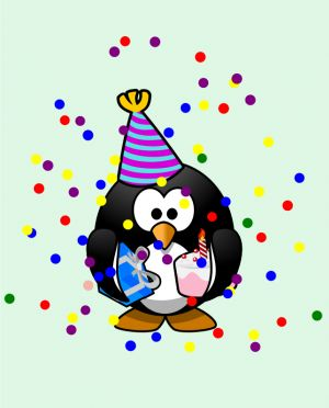 Vektör grafikleri renkli penguen doğum günü kartı