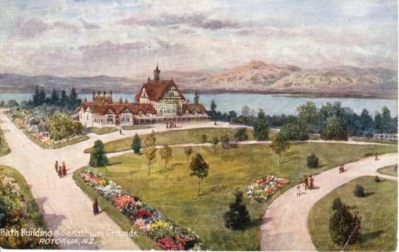 The Bath House and sanatorium grounds on the shores of Lake Rotorua - postcard showing image by C Parkerson.