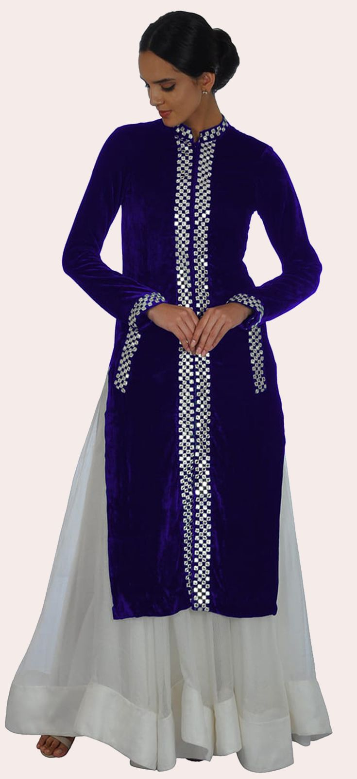 Eid 2017 Collection: Electric Blue Silk-Velvet with Mirror Work Sherwani - Full Flared Skirt