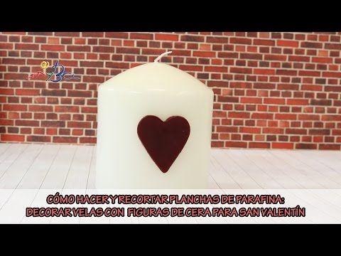 Cómo hacer planchas de parafina y recortar adornos para velas: Adornar velas San Valentín. - YouTube