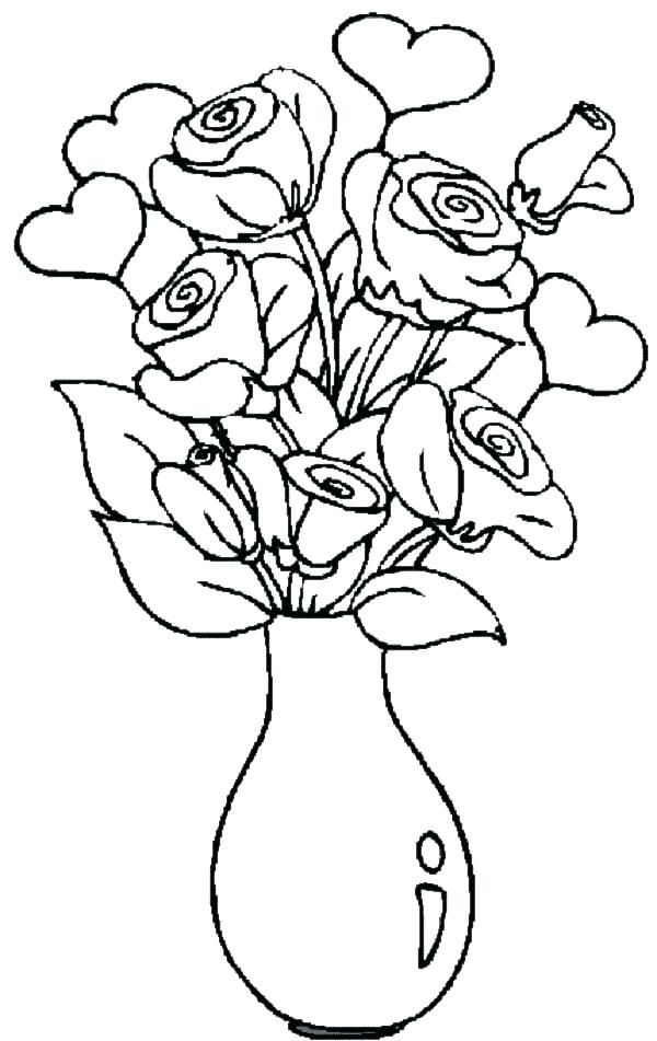 Flowers Coloring Pages Download Vase With Page Picture