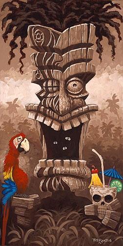 """Screamin' Tiki Man""  36x18 Original Oil  on Gallery Wrap Canvas"