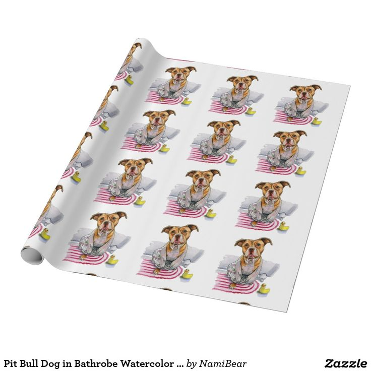 Pit Bull Dog in Bathrobe Watercolor Painting Wrapping Paper