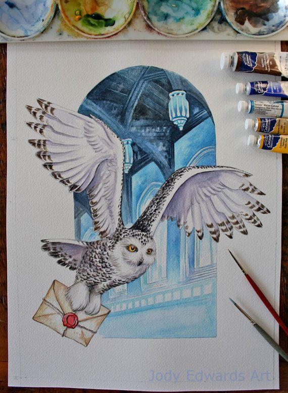 Owl mail Harry Potter inspired art by jodyvanB on Etsy