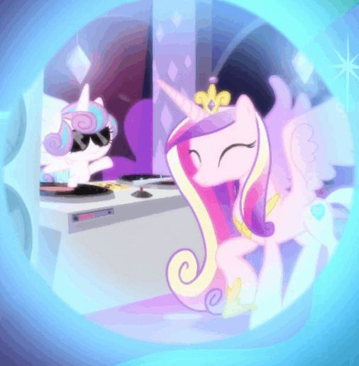 #1459454 - alicorn, animated, a royal problem, context is for the weak, cropped, cute, cutedance, dancing, dj flurry heart, dream, dream orbs, duo, flurrybetes, gif, pony, princess cadance, princess flurry heart, safe, screencap, speakers, spoiler:s07e10, stabilized, sunglasses, turntable - Derpibooru - My Little Pony: Friendship is Magic Imageboard
