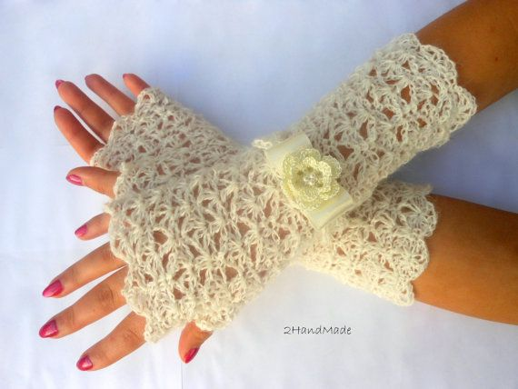 Lace Crochet Fingerless Gloves Wedding Hand Warmers by 2HandMade on Etsy#Repin By:Pinterest++ for iPad#