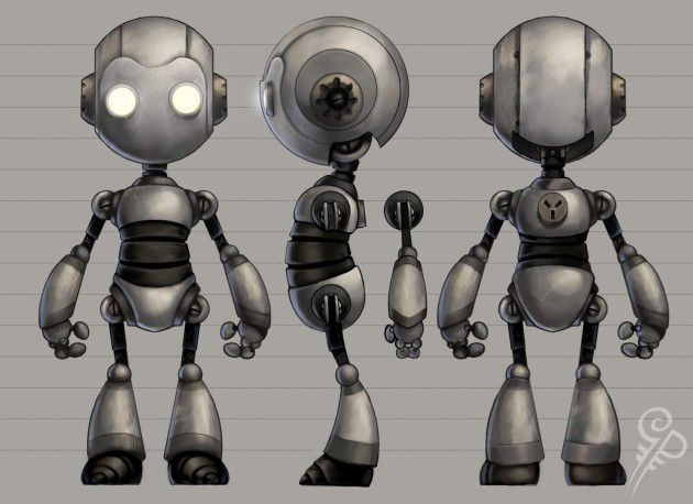Modelling this robot. Original artwork by Georgia Patton. (Sorry Georgia, I tried finding you on the internet. I hope you don't mind)
