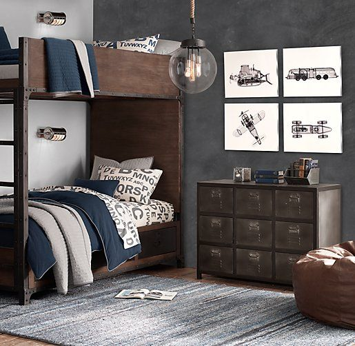 Boy Bedroom Storage: Industrial Locker Twin-Over-Twin Storage Bunk Bed