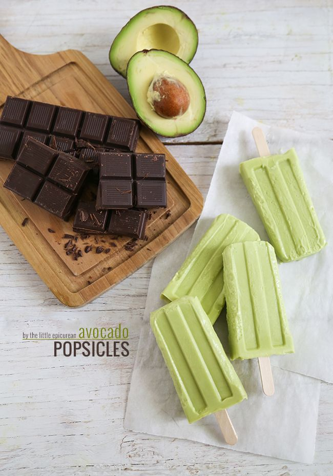 Creamy Chocolate Avocado Popsicles- The Little Epicurean http://www.thelittleepicurean.com/2014/04/chocolate-avocado-popsicles.html