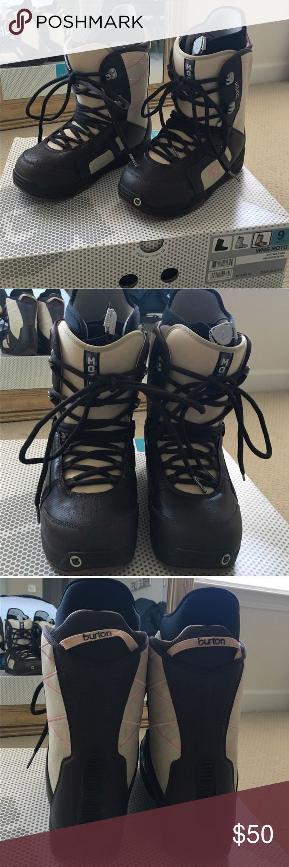 Burton Moto Women's Snowboard Boots Get ready for winter season!! Gently used and in great condition. Bought these, but they are the wrong size for my feet. Great boots. I'd be keeping them if they were the right size :( All pull ties are fully functioning. Dark brown, tan, and light pink in color. Comes with the box. No major defects, everything can be seen from the photos. Burton Shoes Winter & Rain Boots