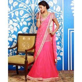 Gota Embellished Pink Sari