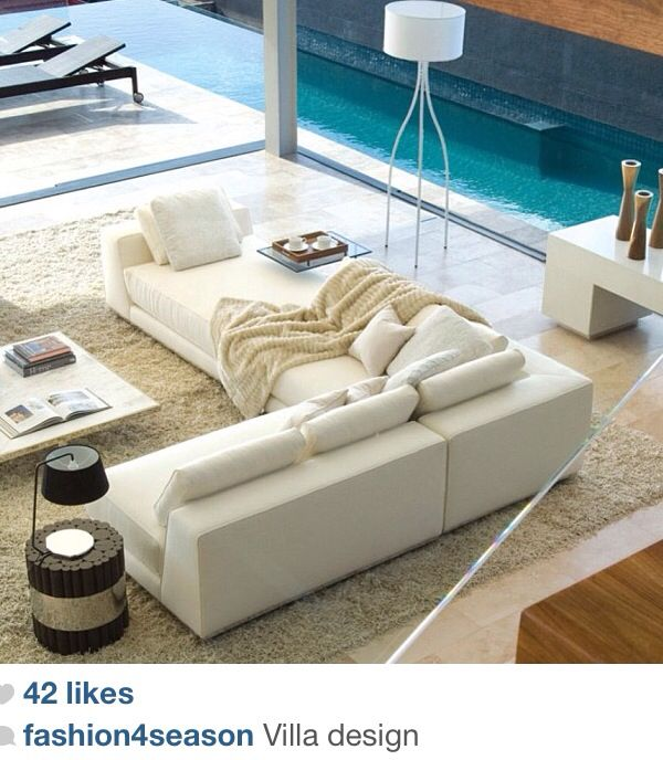 Amazing white L-shaped couch