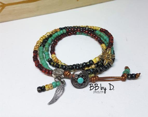 Bracelet cuir et perles de rocailles en verre, bohème hippie ...