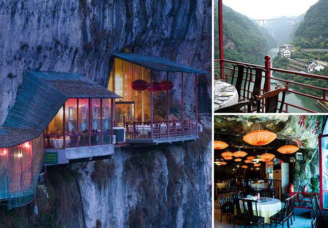 Almoçar em uma caverna com vista para um penhasco é uma experiência inesquecível e possível. Conheça o Fangweng Restaurant, na China: http://scup.it/7aoe