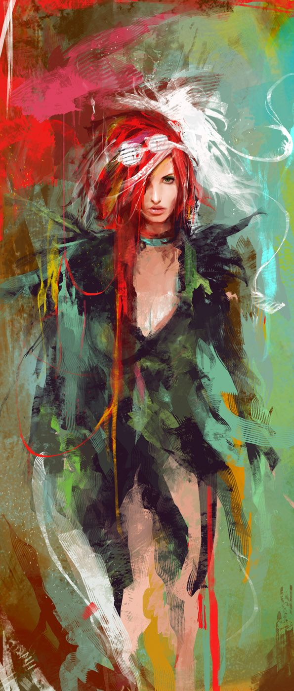 bad wings Vividly Messy Digital Paintings from Muju... This kind of reminds me of Claudia Donovan from Warehouse 13.