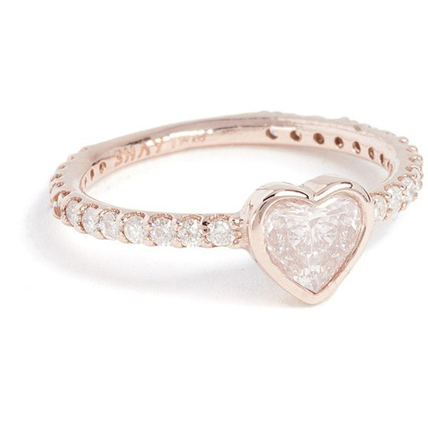Shay 18k Gold Solitaire Heart Pinky Ring ($3,390) ❤ liked on Polyvore featuring jewelry, rings, rose gold, gold band ring, band rings, solitaire ring, gold rings and heart rings