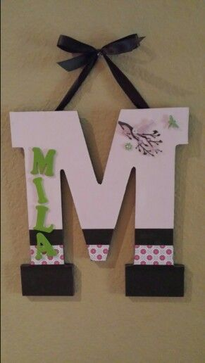 Wood monogram with name scrapbook paper and mod podge