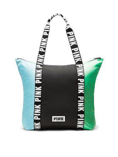 84fefbda023e1 VICTORIA S SECRET PINK TOTE ZIP CLOSURE JETSTREAM BLUE   Green   Black -  NWT!!!  VictoriasSecret  TotesShoppers