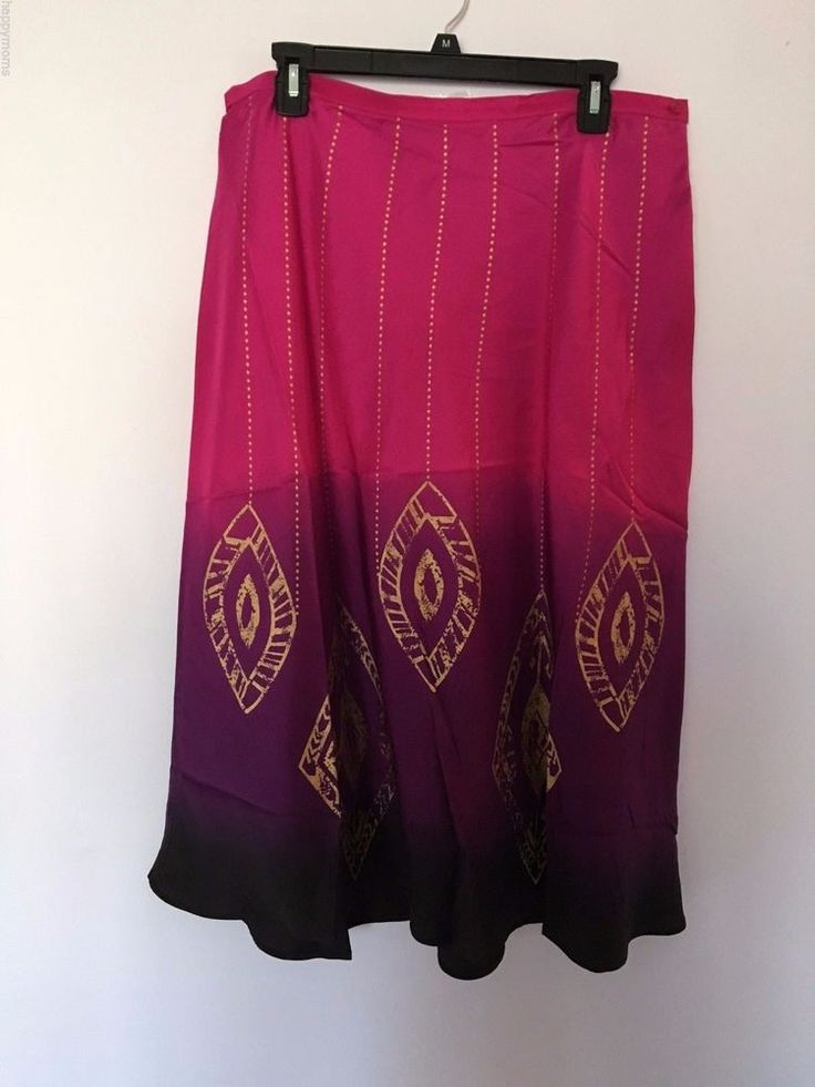 Chicos 100%Silk Skirt Cotton Lined Purple Pink Stretch Waist Gold Accent New #Chicos #ALine