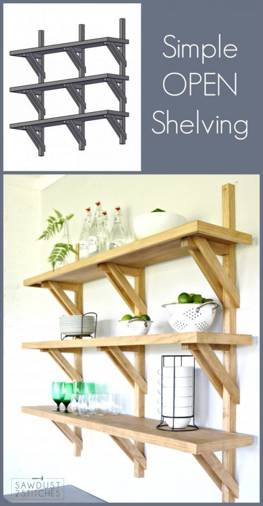 How to make DIY Bracket Open Shelving
