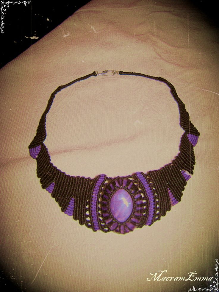 ..Macrame Necklace with Amethyst..symbolizes piety, humility, sincerity and spiritual wisdom..a stone that opens the spiritual and psychic centers..by MacramEmma..