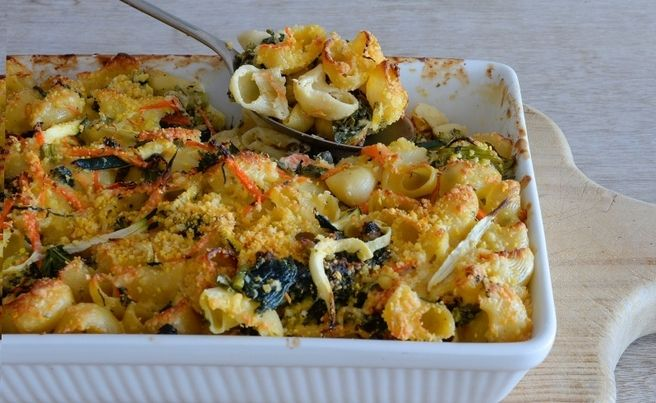 Kale and Spinach Pasta Bake with Lupin Flakes and Parmesan
