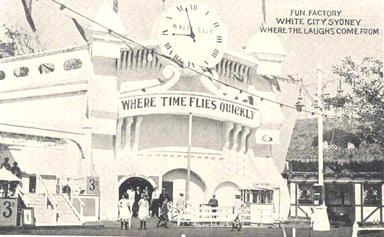Copysheet of twelve postcards showing the White City Amusement Park, Rushcutters Bay. This sheet contains twelve uncut postcards which each measure 8.5 x 13.5cm. Printed top right front: Fun factory White City Sydney Where the laughs come from.