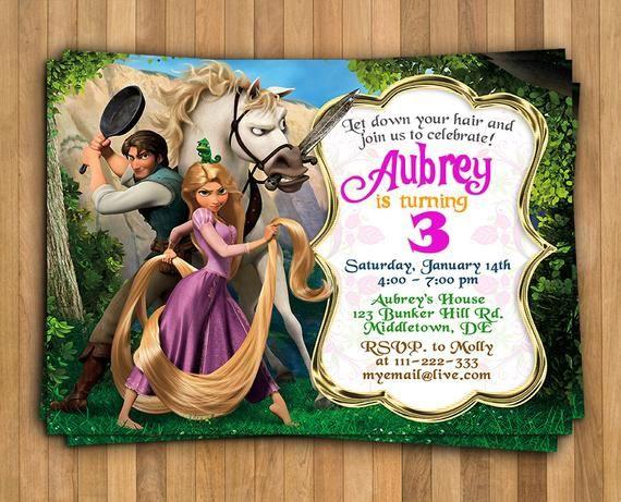 Invitación De Rapunzel Enredado Invitación Cumpleaños