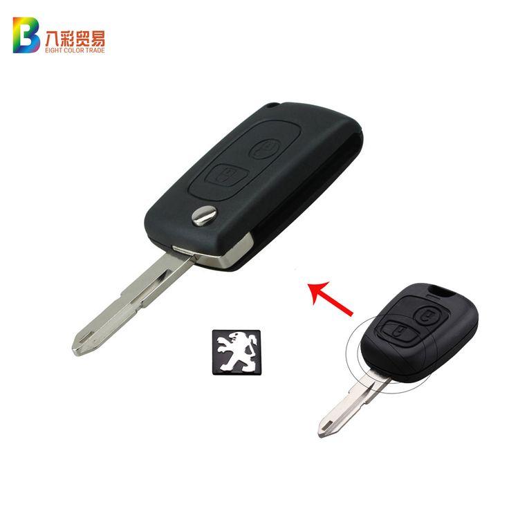 Mobil Remote Kunci Shell Untuk Peugeot 206 2 Tombol Sandal Tombol Remote Kasus Kosong dengan Logo