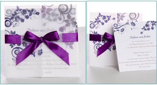 einladungskarten hochzeit lila guenstig online schleife. Black Bedroom Furniture Sets. Home Design Ideas