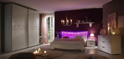 Camera da letto matrimoniale bianco con luci led idelshop