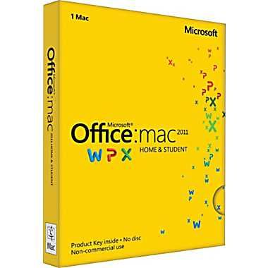 Software Suites : Microsoft Office: Mac 2011 Home and Student - License - 1 Install - $139.00 Use familiar applications like Word, Excel and PowerPoint to help you take your ideas furthers. And since Office for Mac is compatible with Office for Windows, you can work on documents with virtually anyone on a Mac or PC. Store your files in a password protected online SkyDrive folder to access, edit, or share your work from virtually anywhere with the free Office Web Apps.