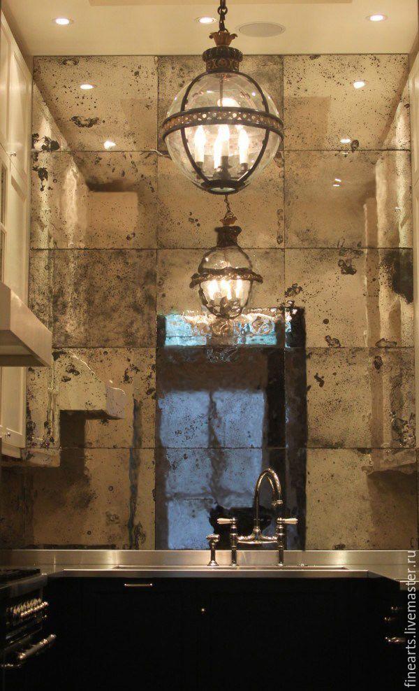 Купить Зеркальная стена из состаренных зеркал ручной работы - серебряный, состаривание зеркал, состаренное зеркало