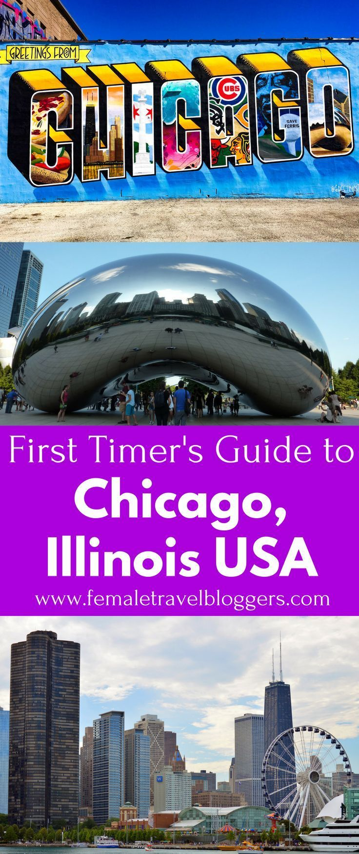 Are you planning a trip to the beautiful city of Chicago? Check out this first timer's guide to Chicago including where to eat in Chicago, places to stay in Chicago, what to see in Chicago, things to do in Chicago, transportation in Chicago and much more. Save this Chicago travel guide to your travel board so you can find it later. Travel in North America.