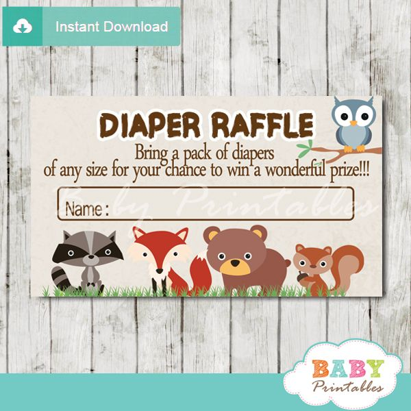 Printable Woodland Animals Baby Shower Game Diaper Raffle Tickets featuring adorable forest baby critters: owl, fox, raccoon, bear and squirrel. Perfect for a boy, girl or a gender neutral baby shower. #babyprintables