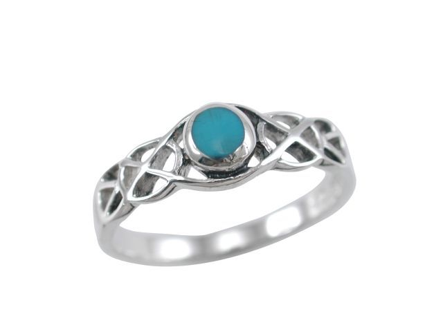 Sterling Silver 5.5mm Round Blue Turquoise Celtic Ring