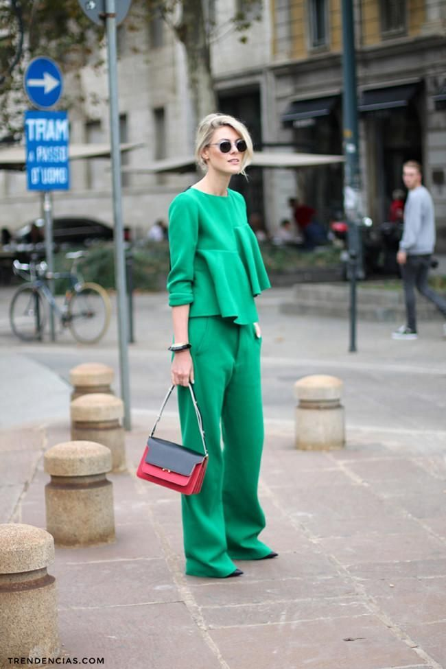 monochromatic green outfit