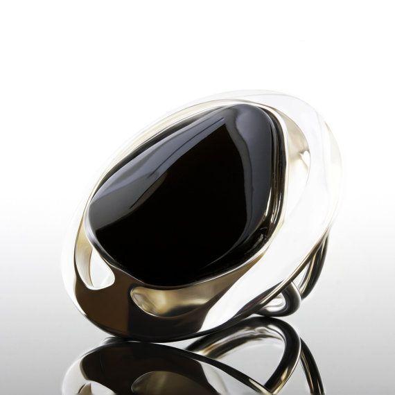 Noir Onyx bague, bague ambre de la Baltique noir, bague noire, bague en ambre de la Baltique argent, Baltique bague ambre, naturel, biologique, naturel organique Ring