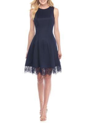 Donna Ricco New York Women's Sleeveless Lace Hem Dress - Spring Navy - 12