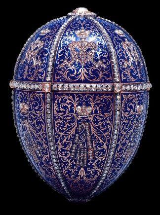 1896 Twelve Monogram Egg / Alexander III Portraits Egg.    Gift Nicholas II to Maria Fyodorovna .  Made in Saint Petersburg . Owner: Hillwood Museum, Washington, DC, USA,  The Marjorie Merriweather Post Collection.  Height: 7,9 cm