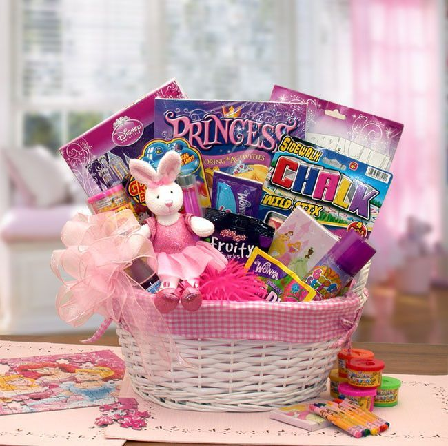 An enchanting gift for the little princess in your life. Send her the magic of a Disney Princess today. The A Little Princess Gift Basket includes: Fabric lined basket, plush ballerina bunny, Disney Princess puzzle, Disney Princess paint set, Disney princess crayons, Princess coloring book, Bubbles, Light up puffer ball, Silly string, Wonka sweet tarts candies, Fun Dip candy, Kellogg's Fruit chews, 6 pc set of sidewalk chalk