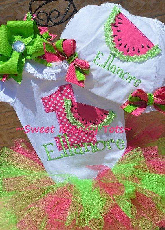 Watermelon Birthday SetTutu Onesie by SweetNSassyTots on Etsy, $47.00
