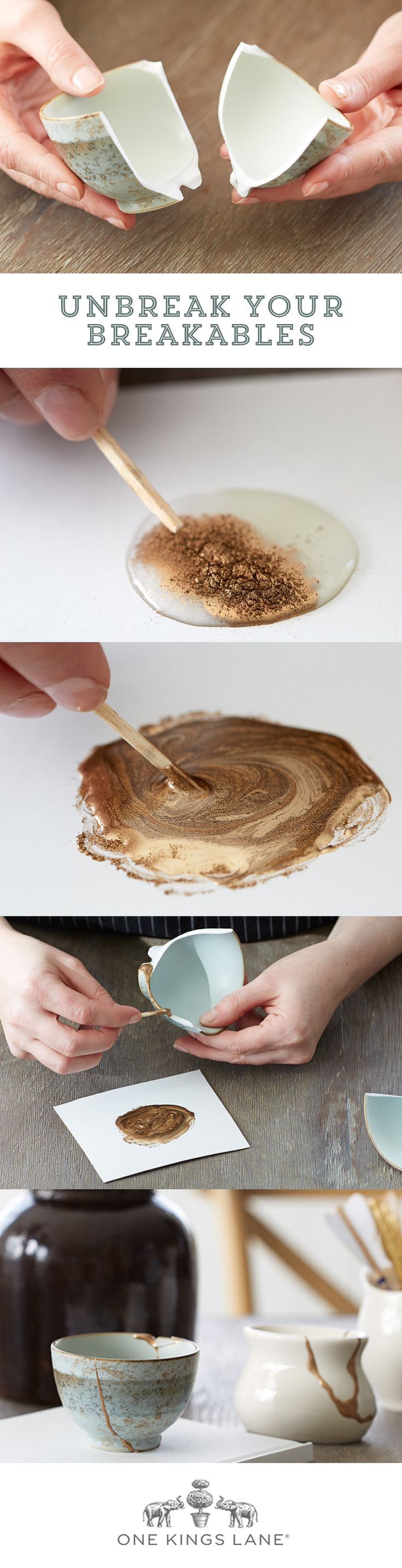 Learn our 3 EASY steps to fixing your broken ceramics! Imitation Kintsugi! Love it!