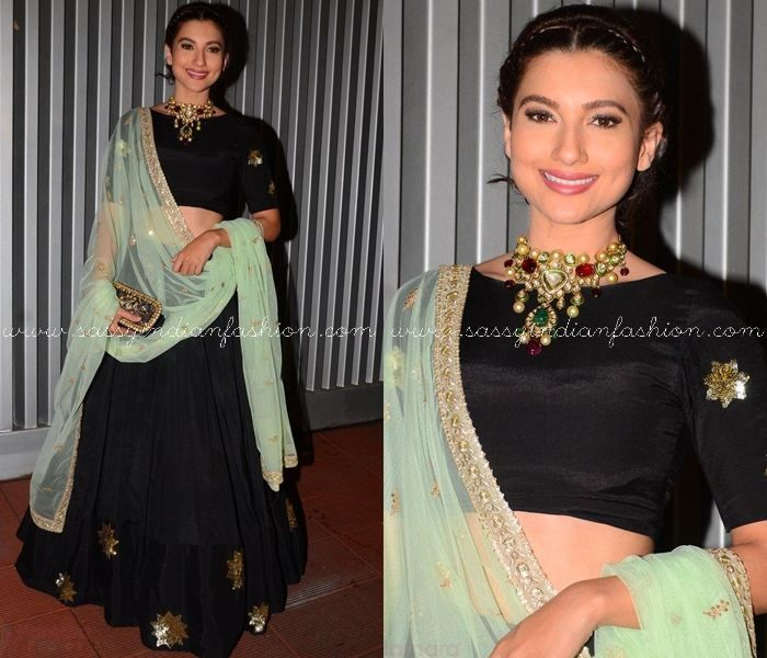 Black and Mint Green Lehenga Designs, Black and Green Lehenga, Gauhar Khan in Lehenga, Celebrity in Black Lehenga.