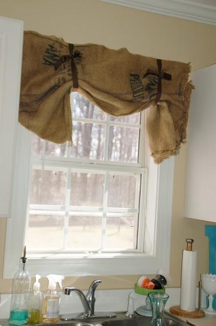 Burlap curtains i need to make window covering ideas pinterest burlap valance sacks and - Kitchen curtain ideas pinterest ...