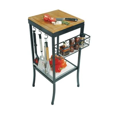 Perfect for the avid outdoor entertainer, this multi-functional outdoor table features a durable cast aluminum frame, removable butcher block, serving tray, spice rack and PVC cover.