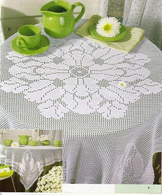 Big Crochet Tablecloth, White, Filet Crochet, Bridal Shower Gift, Victorian, Romantic
